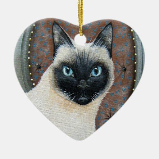 Ornamento bonito del gato siamés adorno de cerámica en forma de corazón