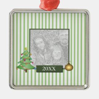 Ornamento bonito del navidad adorno cuadrado plateado
