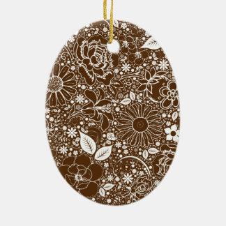 Ornamento botánico del óvalo de Brown de las belle Ornamento Para Arbol De Navidad
