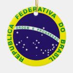 Ornamento BRASILEÑO de la bandera Adorno Navideño Redondo De Cerámica