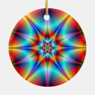 Ornamento brillante de la estrella adorno navideño redondo de cerámica