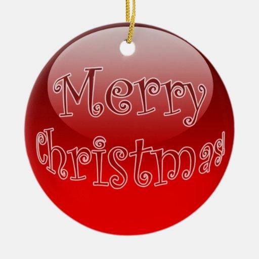 Ornamento brillante rojo de la bola adorno navideño redondo de cerámica