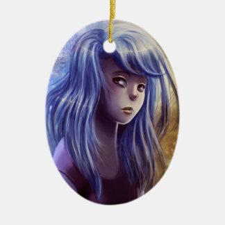 Ornamento cabelludo azul del chica adorno navideño ovalado de cerámica