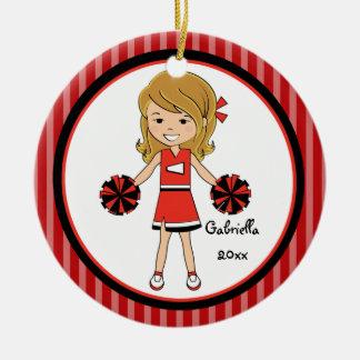 Ornamento cabelludo lindo del navidad de la adorno redondo de cerámica