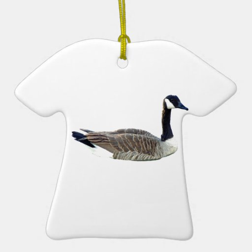 Ornamento canadiense de la camiseta del ganso adorno navideño de cerámica en forma de playera