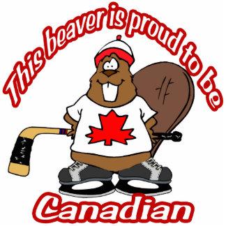 Ornamento canadiense del castor del hockey escultura fotografica