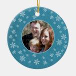 Ornamento caprichoso azul de la foto de los copos  adornos