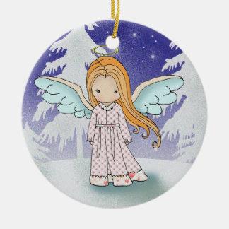 Ornamento caprichoso del navidad del ángel adorno navideño redondo de cerámica