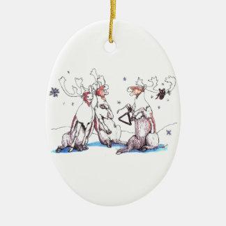 Ornamento caprichoso del navidad del caribú del adorno navideño ovalado de cerámica