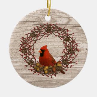 Ornamento cardinal de la guirnalda adorno navideño redondo de cerámica