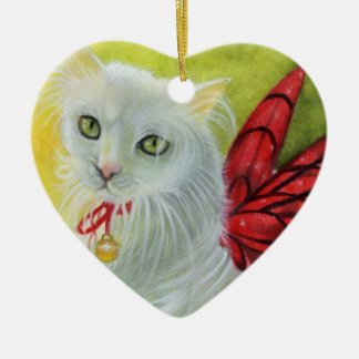 Ornamento carmesí de las alas del gatito del navid adorno de reyes