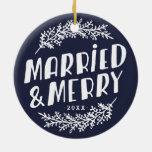 Ornamento casado y feliz de la foto del boda ornamentos para reyes magos