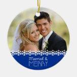 Ornamento casado y feliz del día de fiesta ornamento para arbol de navidad