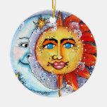 Ornamento celestial de Sun y de la luna Ornamento Para Arbol De Navidad