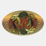 Ornamento céltico del dragón pegatina ovalada