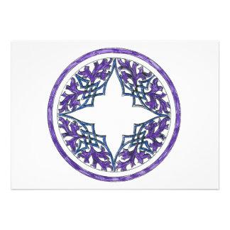 Ornamento céltico del ish del Victorian azul y púr Invitacion Personal