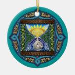 Ornamento céltico del reloj de arena de la adorno navideño redondo de cerámica