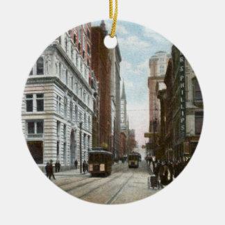 Ornamento céntrico de Pittsburgh del vintage Adorno Navideño Redondo De Cerámica