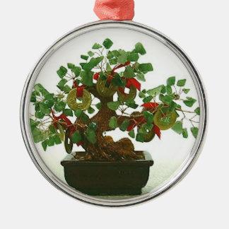 Ornamento chino afortunado del árbol de la gema y adorno navideño redondo de metal