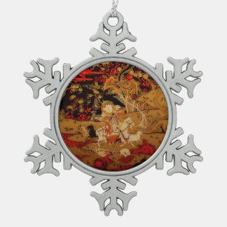 Ornamento chino chino de la tapicería de las adorno de peltre en forma de copo de nieve