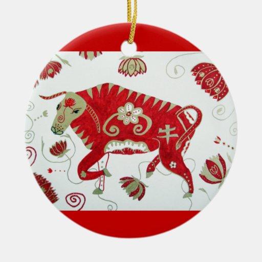 Ornamento chino de la astrología del buey ornamento para arbol de navidad