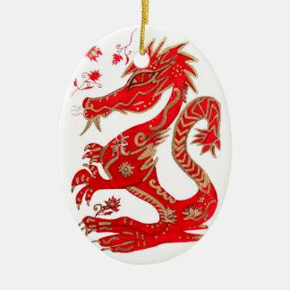 Ornamento chino de la astrología del dragón adorno navideño ovalado de cerámica