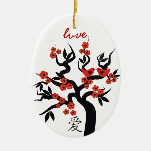 Ornamento chino del personalizado del símbolo del adorno ovalado de cerámica
