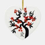Ornamento chino del personalizado del símbolo del adorno de cerámica en forma de corazón