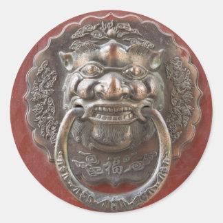 Ornamento chino pegatina redonda