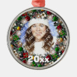Ornamento chispeante del recuerdo del marco de la  adornos de navidad