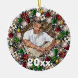 Ornamento chispeante del recuerdo del marco de la ornamento para arbol de navidad