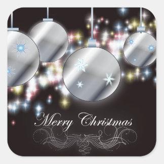 Ornamento chispeante fresco del navidad pegatina cuadrada
