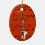 Ornamento - clarinete bajo - escoja su color adorno navideño ovalado de cerámica