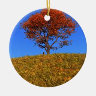 Ornamento claro del día del otoño adorno navideño redondo de cerámica