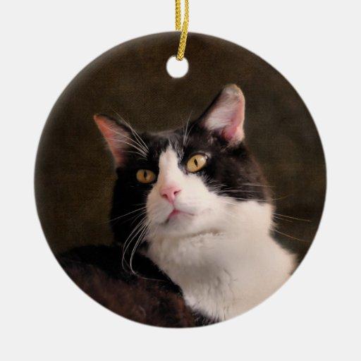 Ornamento clásico de la foto del gato adorno redondo de cerámica