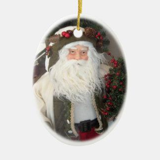 Ornamento clásico de Papá Noel del vintage Adorno Navideño Ovalado De Cerámica