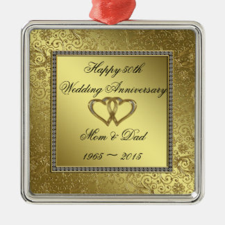 Ornamento clásico del aniversario de boda de oro adorno navideño cuadrado de metal