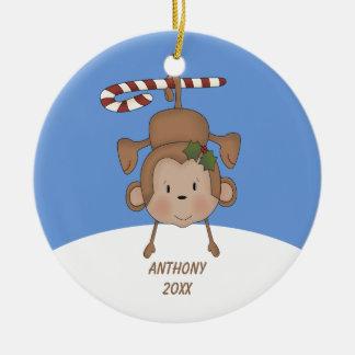 Ornamento colgante adorable del mono ornamentos de navidad