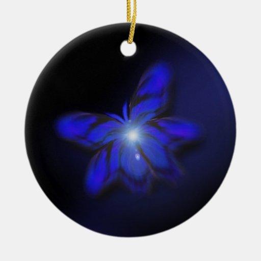 Ornamento colgante de la mariposa azul del adorno de navidad