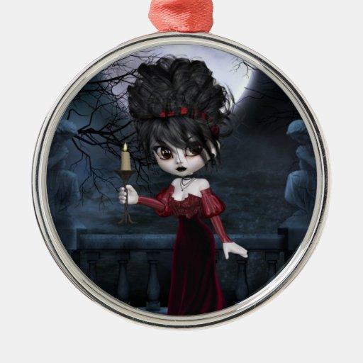 Ornamento colgante del chica rojo del gótico adorno navideño redondo de metal