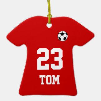 Ornamento colgante del fútbol de la camisa roja de adornos de navidad