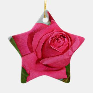 Ornamento color de rosa adorno navideño de cerámica en forma de estrella