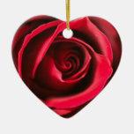 Ornamento color de rosa del corazón adorno de cerámica en forma de corazón