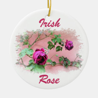 Ornamento color de rosa irlandés salvaje adorno navideño redondo de cerámica