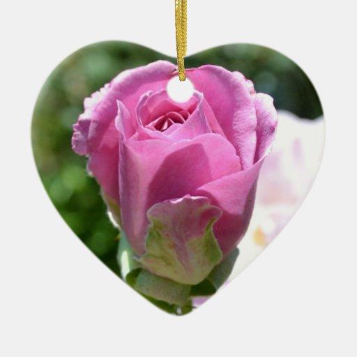 Ornamento color de rosa romántico del corazón del  ornamentos para reyes magos