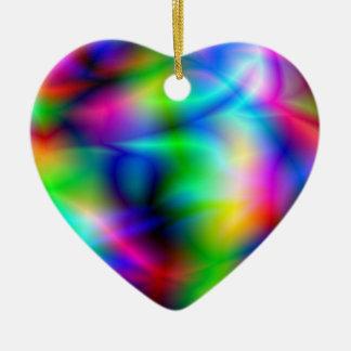 Ornamento colorido de la abstracción adorno navideño de cerámica en forma de corazón