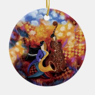 Ornamento colorido de la música de la banda de adorno navideño redondo de cerámica