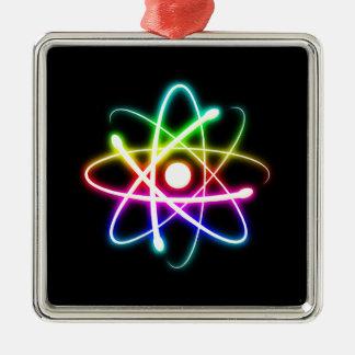 Ornamento colorido del átomo que brilla adorno de reyes