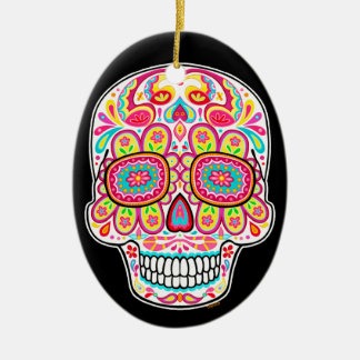 Ornamento colorido del cráneo del azúcar - día de adorno navideño ovalado de cerámica