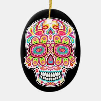 Ornamento colorido del cráneo del azúcar - día de  ornamentos de reyes magos
